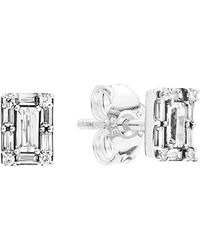PANDORA Silver Cz Sparkling Square Halo Studs - Metallic