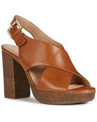 Geox Gerbera Leather Sandal - Brown