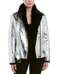 IRO Shearling-accented Metallic Leather Jacket - Black