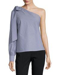 Saks Fifth Avenue Black - One-shoulder Bow Top - Lyst