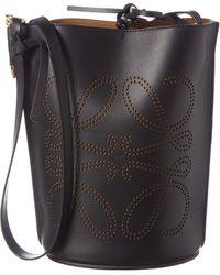 Loewe Gate Anagram Leather Bucket Bag - Black