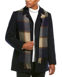 Tommy Hilfiger Wool-blend Walking Coat With Scarf - Blue