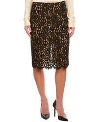 Michael Kors Collection Silk-trim Pencil Skirt - Black