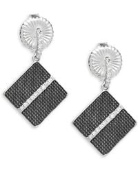 Freida Rothman - Contemporary Deco Square Crystal And Sterling Silver Drop Earrings - Lyst