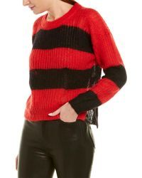 Zadig & Voltaire Gaby Striped Distressed Mohair Jumper - Red