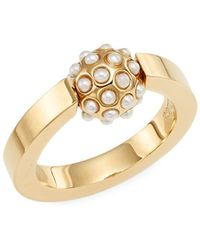 See By Chloé Darcey Faux Pearl Sphere Ring - Metallic
