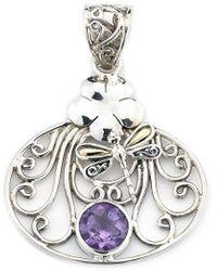 Samuel B. Jewellery 18k & Silver 1.90 Ct. Tw. Amethyst Dragonfly Pendant - Metallic