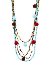 Panacea Multi-layered Beaded Necklace - Multicolour