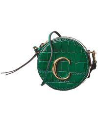 Chloé C Mini Croc-embossed Leather Clutch - Green