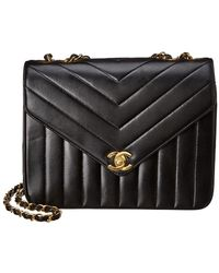 Chanel Black Lambskin Chevron Quilted Leather Small Envelope Single Flap Bag