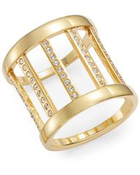 Vita Fede Classic Sparkle Barrel Ring/goldtone - Metallic