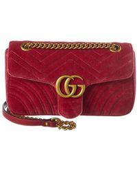 b5378b0122fcc9 Gucci - GG Marmont Small Matelasse Velvet Crossbody - Lyst