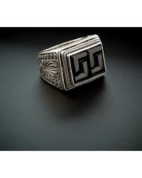 Konstantino Men's Prometheus Silver 6.00 Ct. Tw. Onyx Etched Ring - Metallic