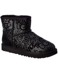 UGG Classic Mini Sparkle Graffiti Suede Bootie - Black