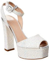 Giuseppe Zanotti Betty Glitter Leather Platform Sandal