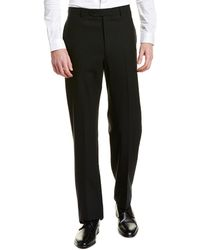 Brooks Brothers Madison Fit Pleated Wool Blend Trouser - Black