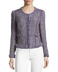 Robert Graham Tweed Long Sleeve Jacket - Purple