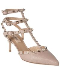 Valentino Rockstud Caged 65 Leather Ankle Strap Pump - Natural