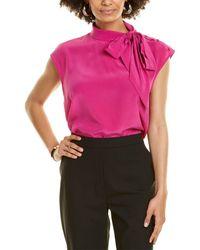 St. John Scarf Neck Silk Top - Pink