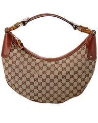 Gucci Brown GG Canvas & Leather Hobo