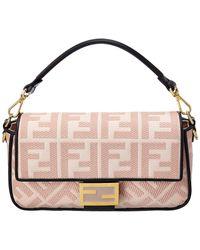Fendi Baguette Iconic Canvas Shoulder Bag - Pink