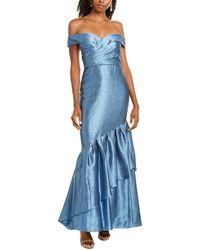 Aidan Mattox Off-the-shoulder Mermaid Gown - Blue
