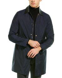 Valentino Leather-trim Silk-blend Coat - Blue