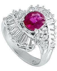 Heritage Platinum 2.83 Ct. Tw. Diamond & Ruby Ring - Metallic