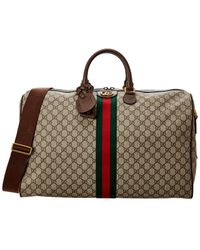Gucci Web Ophidia Large GG Supreme Canvas & Leather Carry-on Duffel Bag - Brown
