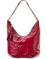 Gucci Dark Pink Patent Leather Soho Shoulder Bag - Red
