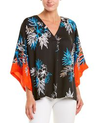 Laundry by Shelli Segal Floral V-neck Relaxed Dolman-sleeve Blouse - Orange