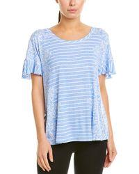 Kensie Stripe Pyjama Top - Blue