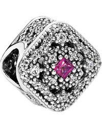 PANDORA Silver Cz & Pink Cerise Crystal Fairytale Treasure Charm - Metallic