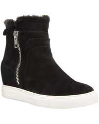 Steven by Steve Madden Cass Suede Trainer - Black