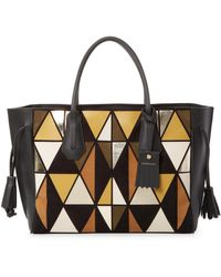Longchamp - Geometric Leather Tote - Lyst