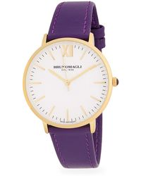 Bruno Magli - Stainless Steel Slim Leather Strap Watch - Lyst