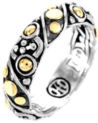 John Hardy - Jaisalmer Dot Gold & Silver Twist Band Ring - Lyst