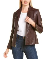 Cole Haan Petite Leather Jacket - Brown