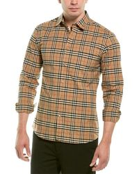 Burberry Small Scale Check Stretch Woven Shirt - Natural