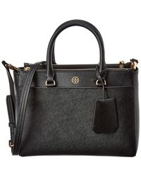 Tory Burch Robinson Small Double Zip Leather Tote - Black