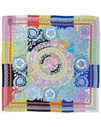 Versace Bloom Print Silk Scarf - Blue