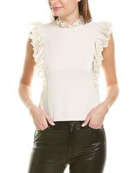 Rebecca Taylor Crepe Lace Top - White