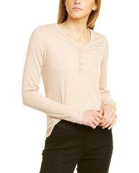 Three Dots Henley T-shirt - Natural
