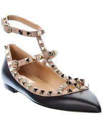 Valentino Garavani Rockstud Leather Ballerina Flat - Black