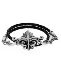 King Baby Studio Silver Kb Scroll Leather Wrap Bracelet - Black