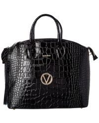 Valentino By Mario Valentino Bravia Croc-embossed Leather Satchel - Black