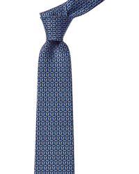 Ferragamo Linked Gancini Silk Tie - Blue