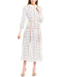 Self-Portrait Geometric Dot-print Shirtdress - White
