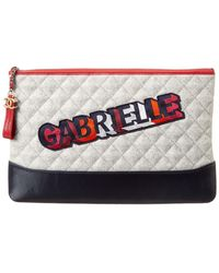 Chanel Lambskin Leather Quilted Gabrielle O Case Pouch Clutch - Multicolor