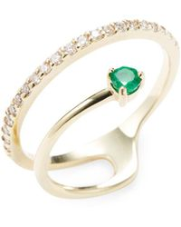Danni | 14k Yellow Gold Emerald & Diamond Spiral Ring | Lyst